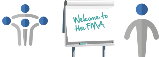 Banner image showing the FMA logo visual representation of people, a whiteboard saying Welcome to the FMA